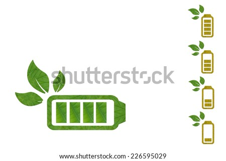 Idea from leaf.(Battery  icon concept) - stock photo
