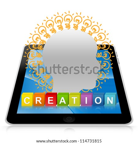 Idea Generate Concept Present By Tablet PC With Colorful Creation Cube Box And Head With Many Light Bulb Isolated on White Background - stock photo