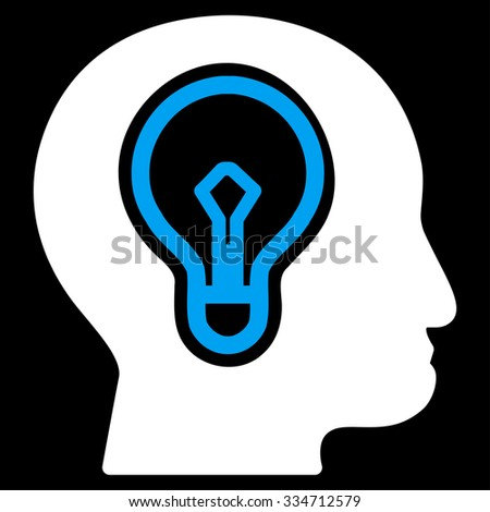 Idea glyph icon. Style is bicolor flat symbol, blue and white colors, rounded angles, black background. - stock photo