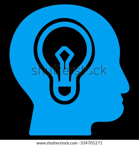 Idea glyph icon. Style is flat symbol, blue color, rounded angles, black background. - stock photo