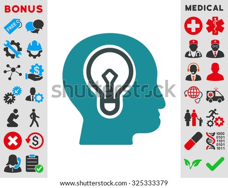 Idea illustration icon. Style is bicolor flat symbol, soft blue colors, rounded angles, white background. - stock photo
