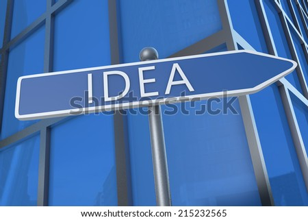 Idea - illustration with street sign in front of office building.