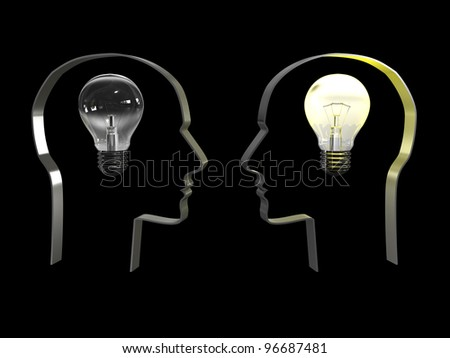 Idea in a head on black background. 3D image