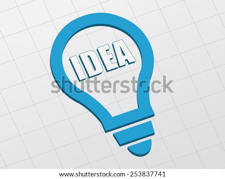 idea in light bulb sign - white text and blue symbol flat design, business creative concept - stock photo