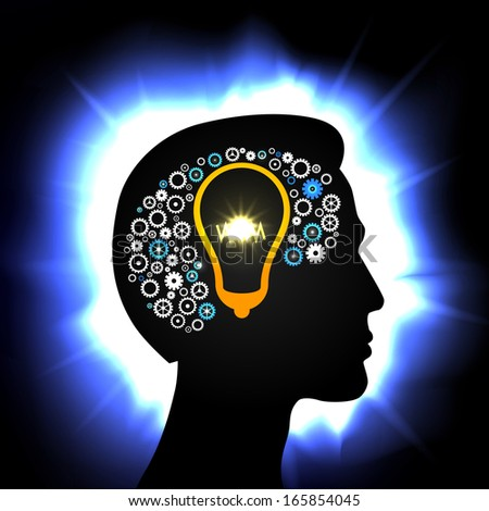 Idea in the head concept, process of thinking illustration - stock photo