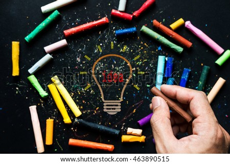 Idea inspiration concepts, chalk drawing idea light bulb on chalkboard, with Asian guy hand holding chalk