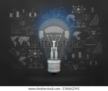 idea light bulb center of abstract drawing plan strategy success in front of wall - stock photo