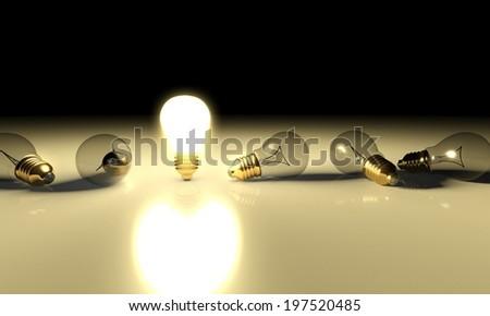 Idea light bulb concept with copyspace - stock photo