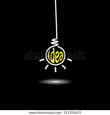 idea light bulb hanging in black background - concept graphic icon. This graphic also represents creative problem solving, genius mind, smart thinking, inventive mind, innovative man, abstract thought - stock photo