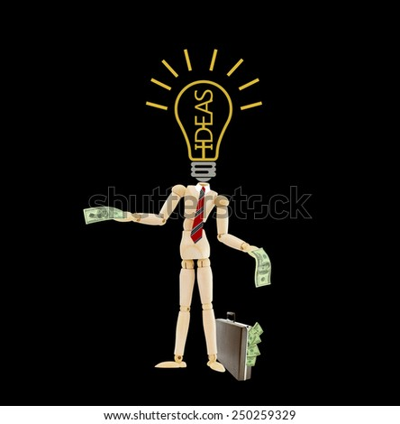 Idea light bulb headless mannequin wearing red striped tie holding one hundred dollar bill standing next to brown briefcase attache case isolated on black  - stock photo
