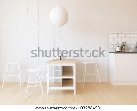 Idea of a white scandinavian kitchen room interior with table, chairs on the wooden floor and decor on the large wall and white landscape in window. Home nordic interior. 3D illustration