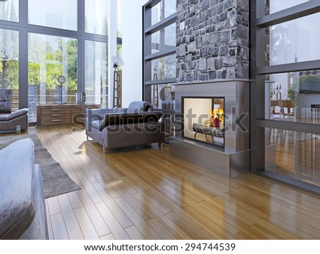 Idea of avant-garde living room with fireplace. 3D render - stock photo