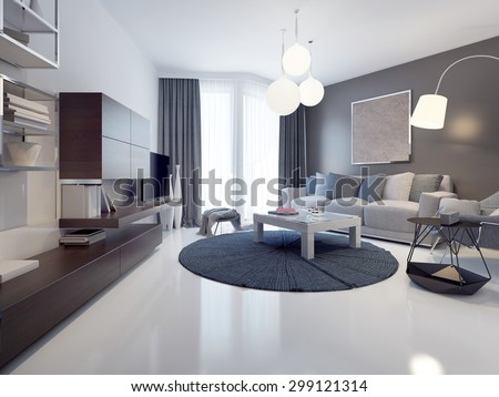 Idea Contemporary Living Room White Grey Stock