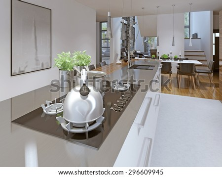 Idea of high-tech kitchen-dining room. Gas stove and chanik with a pan on it. Shiny surface. Suspended lamp over the island and a desk. Kitchen table. 3D render