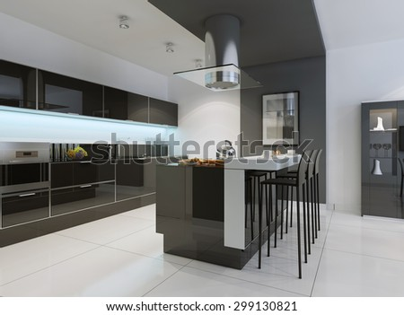 Idea of minimalist kitchen . Modern kitchen with an undermount sink, flat-panel cabinets, black tone cabinets and paneled appliances. 3D render - stock photo