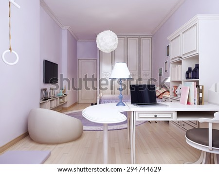 Idea of provence bedroom with working area. Bright solution to connect the living and working areas. The walls are made in light purple tone. High wardrobe visually make the room higher. 3d render - stock photo