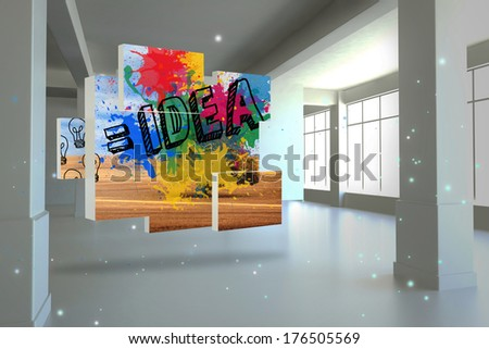 Idea on abstract screen against screen in room with sparks