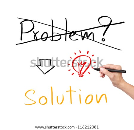 idea or innovation change problem to solution concept written by business hand - stock photo