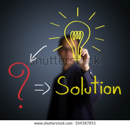 idea or innovation change problem to solution concept written by businessman - stock photo