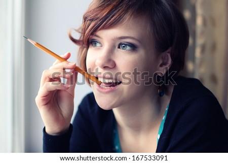 idea pencil girl - stock photo