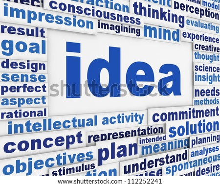 Idea poster conceptual design. Creative thinking message background