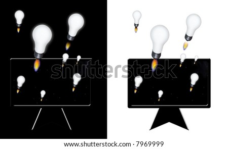 Idea rockets emerge from flat panel - stock photo