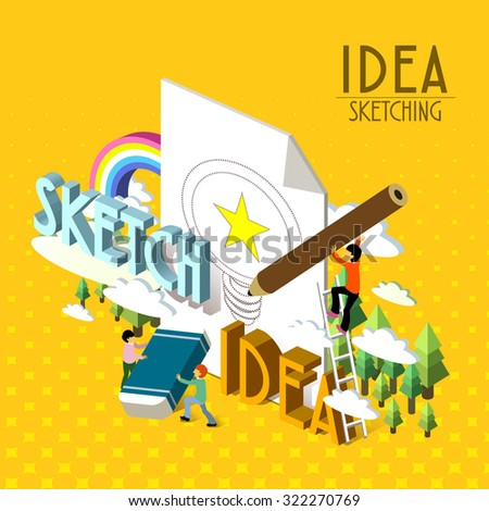 idea sketching concept in 3d isometric flat design