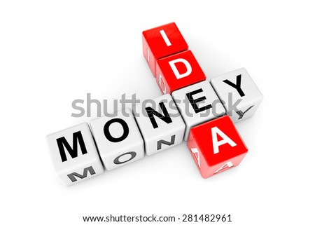 Idea To Money Concept. Idea and money crossword cubes on a white background