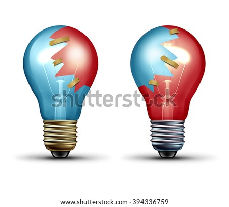 Idea trade concept as two light bulbs or lightbulb icons with shared pieces of glass as a teamwork and Leadership symbol representing working together as an equal creative team in partnership. - stock photo