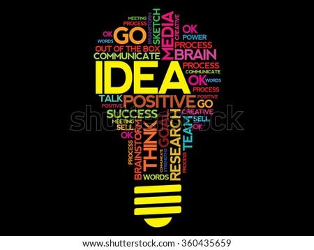 IDEA word cloud bulb business concept - stock photo