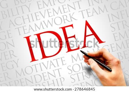 Idea word cloud, business concept - stock photo