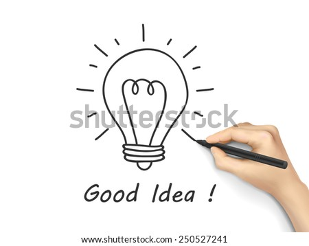idea word written by human hand over white background