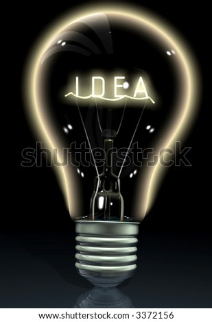idea word written on the glowing part of the bulb