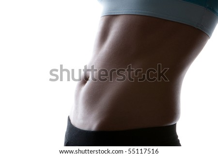 ideal sexy fitness body isolated white - stock photo