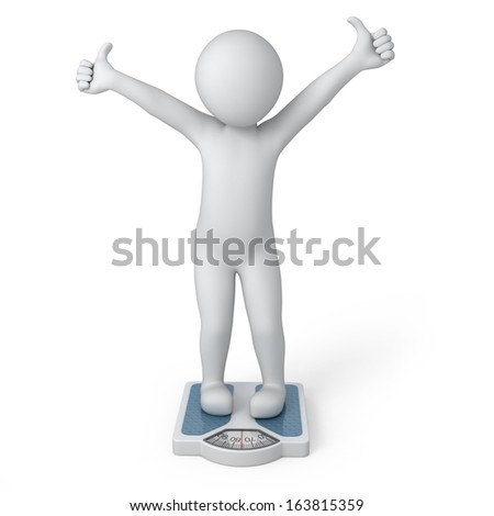 ideal weight, 3d human and scales. image with a work path - stock photo