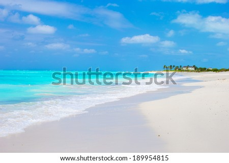 Ideal white beach in the Caribbean - stock photo