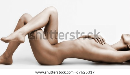 Ideal woman`s naked body - stock photo