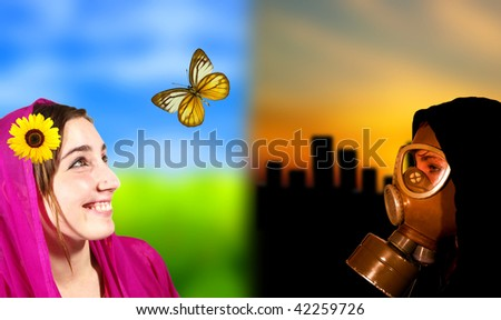 Ideal world versus apocalypse scene, portrait of two girls - stock photo