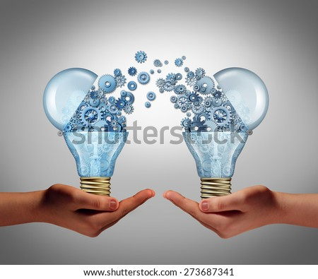 Ideas agreement Investing in business innovation concept and financial commerce backing of creativity as an open lightbulb icon for funding potential innovative growth prospect with venture capital. - stock photo