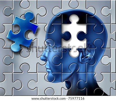 Ideas and intelligence representing the concept of inspiration and creativity with a human head on a jigsaw texture.