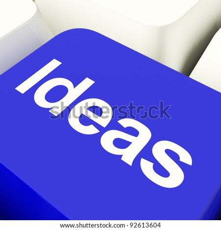 Ideas Computer Key In Blue Showing Concepts Or Creativity
