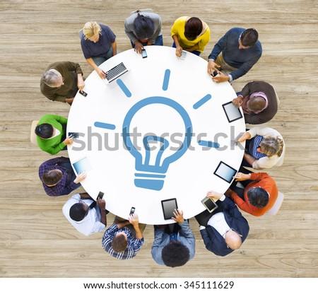 Ideas Concept Design Process Solution light Bulb Vision Concept - stock photo