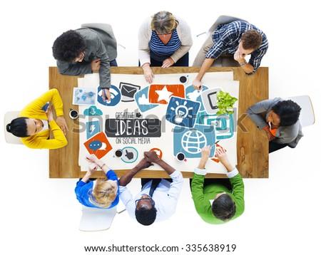 Ideas Creative Social Media Social Networking Vision Concept - stock photo
