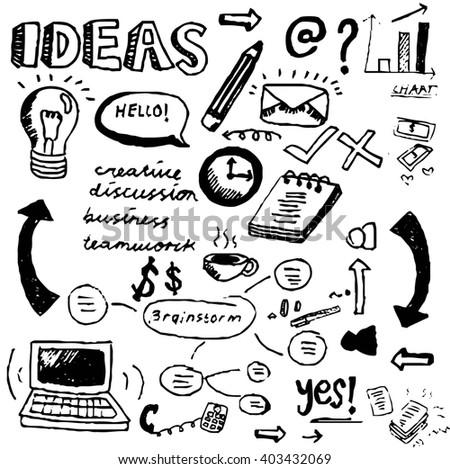 Ideas Doodles Set - stock photo