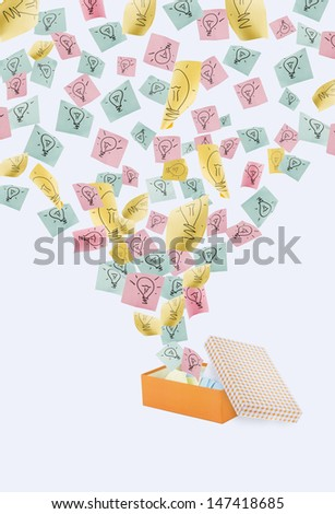 Ideas fly out of the box. - stock photo