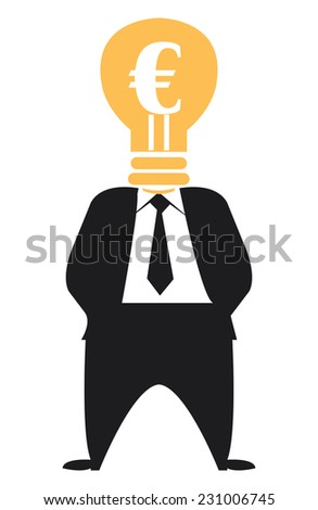 Ideas for Generating Extra Income, Businessman With Euro Currency Lamp Head Isolated on White Background - stock photo
