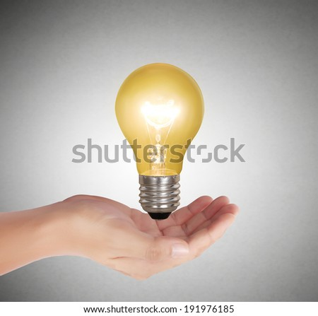 Ideas light bulb in the hand