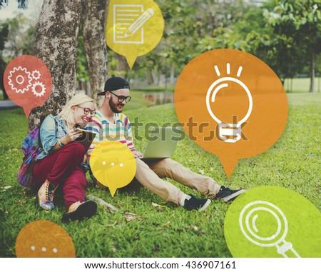Ideas Lightbulb Innovation Learning Concept - stock photo
