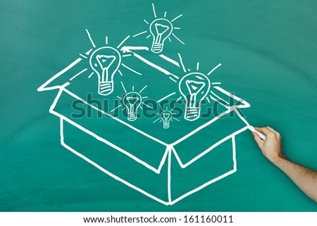 Ideas out of the box concept on green blackboard - stock photo