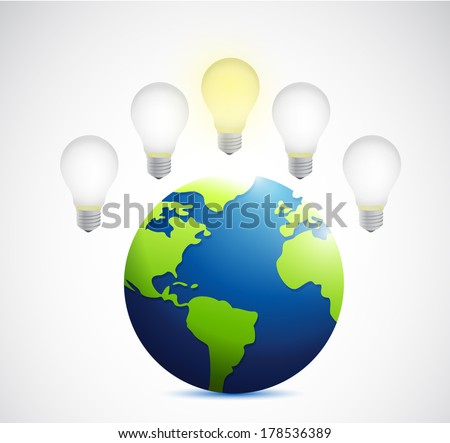 ideas over a light bulb illustration design over a white background